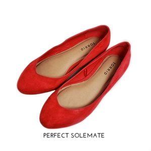 Torrid Red Slip-On Suede Flat Shoes Sz 8W